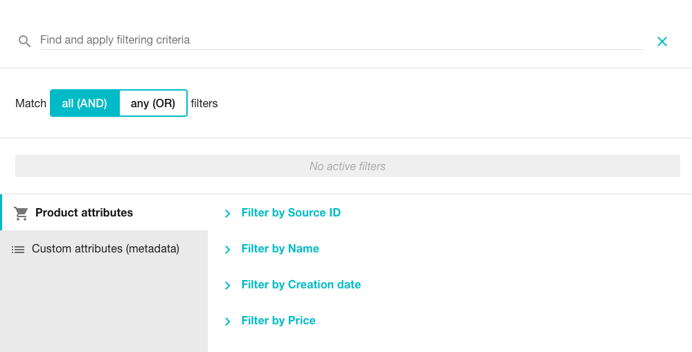 Product Collection screen