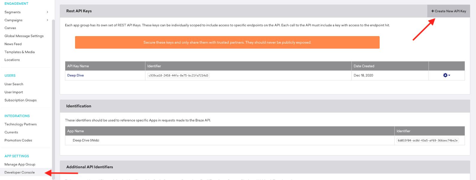 Braze API credentials