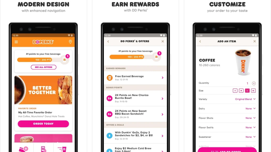 Dunkin' Donuts loyalty mobile app
