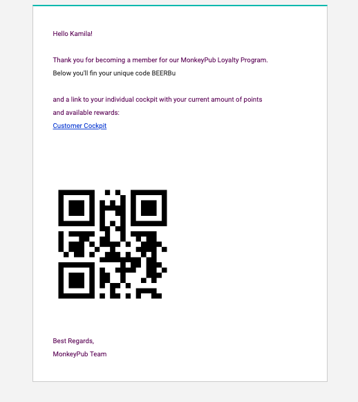 Loyalty program welcome email message