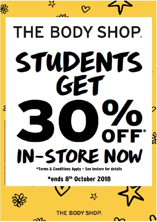 The Body Shop student-only discount