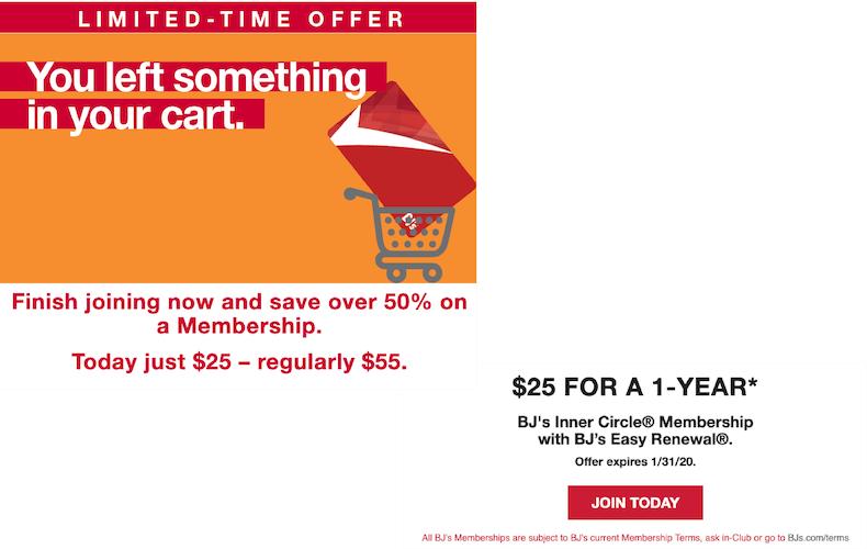 BJ's cart abandoned cart sales promotion