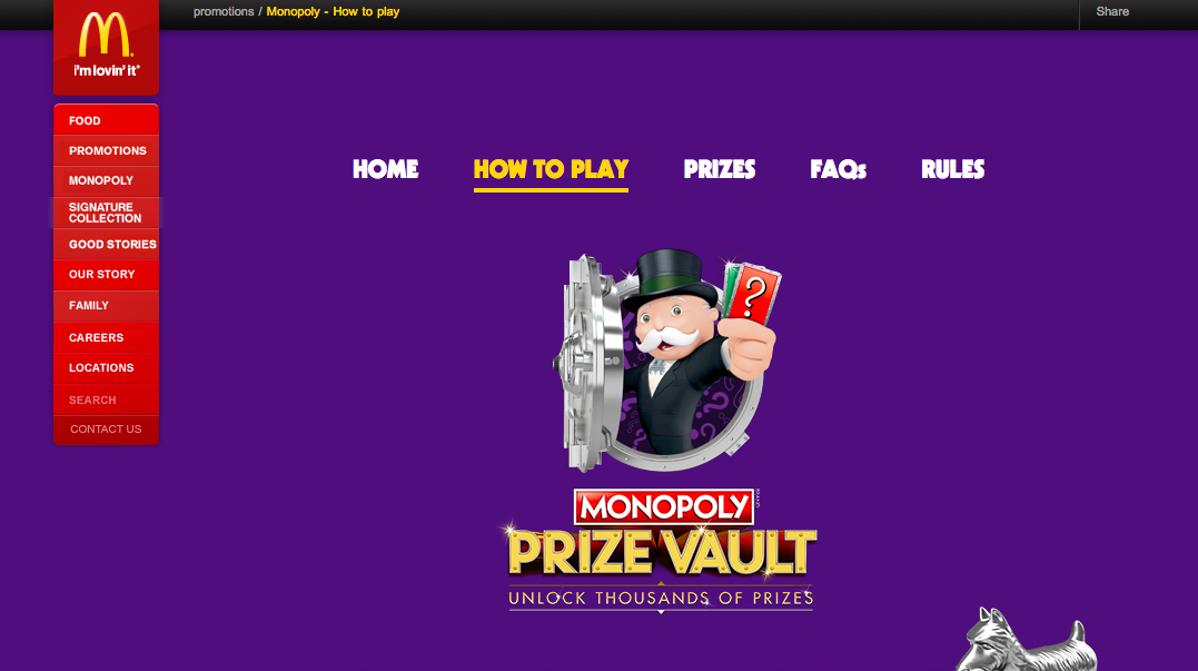 McDonald's Monopoly example of campaign gamification