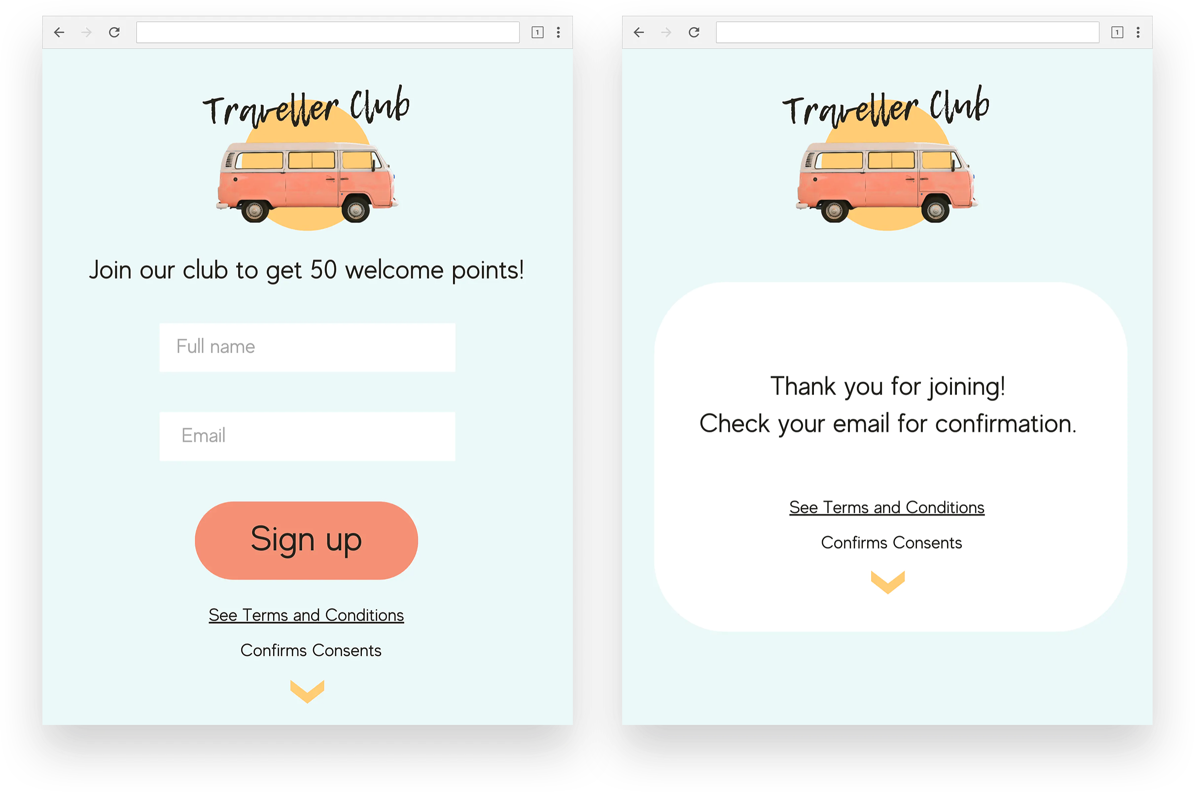 Loyalty landing Pages example