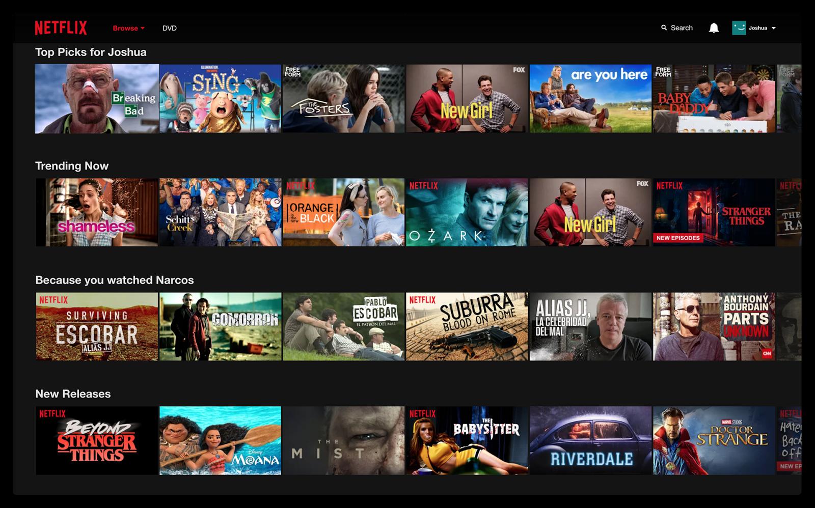 Netflix preferences screen - foot in the door technique in practice
