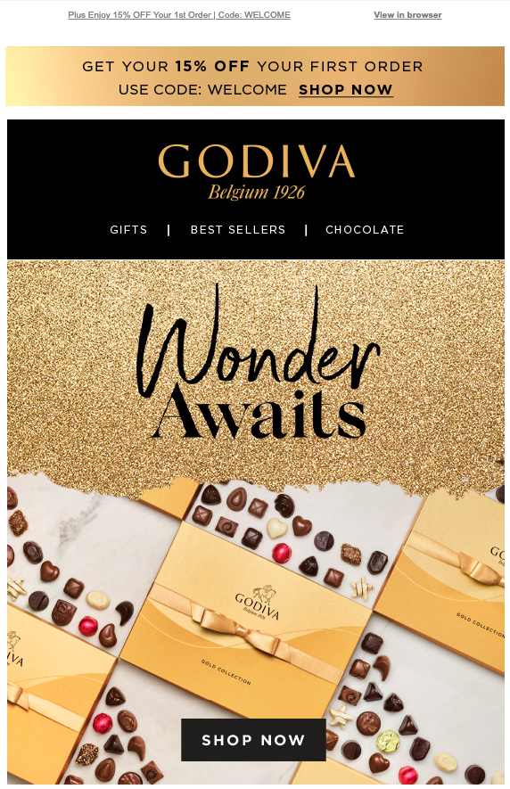 Godiva first purchase discount