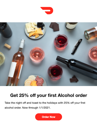 Doordash alcohol welcome promotion