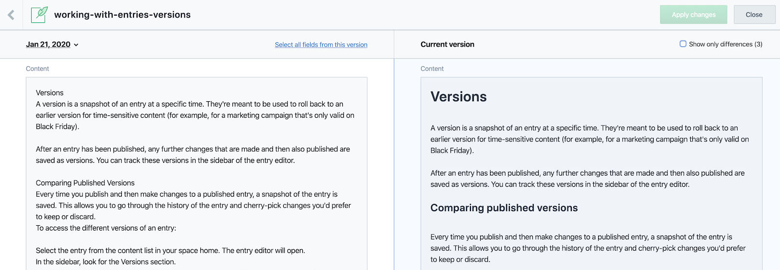 Previous and current version of content in CMS