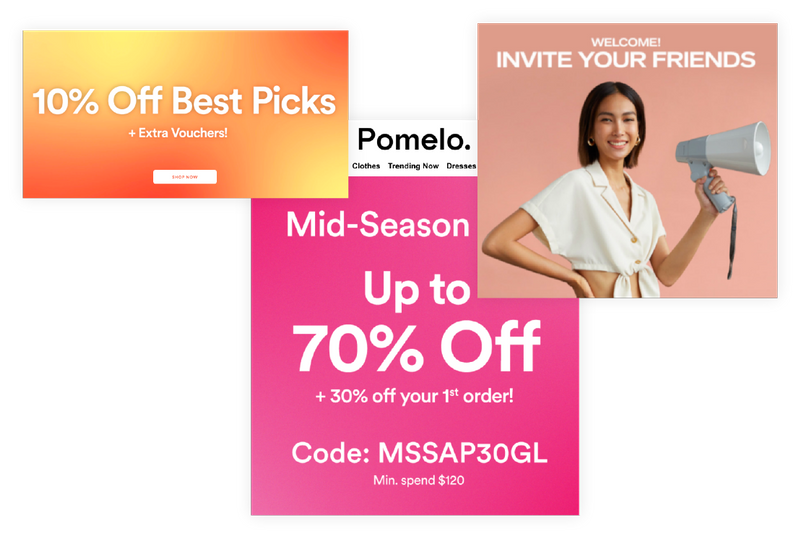 Illustration of three pomelo promotions