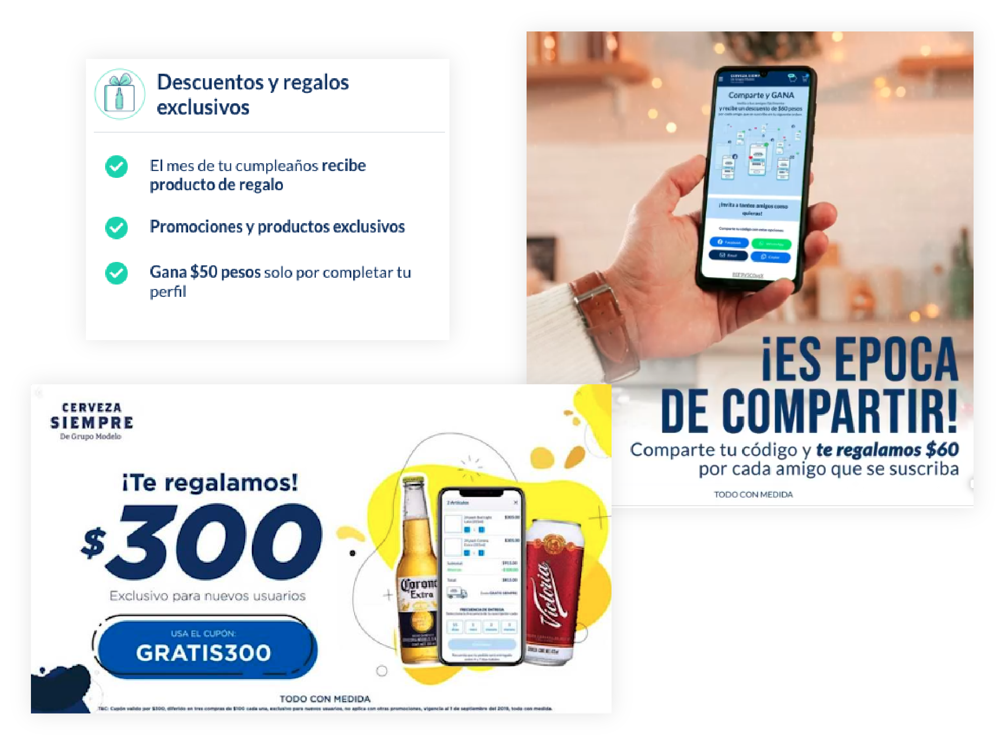 Illustrations of Cerveza Siempre promotions