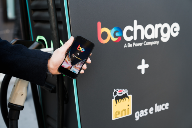 Illustration of Be Power app next to the charging station