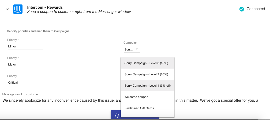 Specify priorities for the Voucherify Rewards App and decide which coupons you want to share from the messenger window