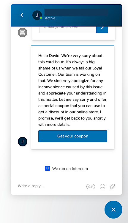 """Trigger a personalized """"sorry"""" coupon or a gift card in response to a submitted complaint"""