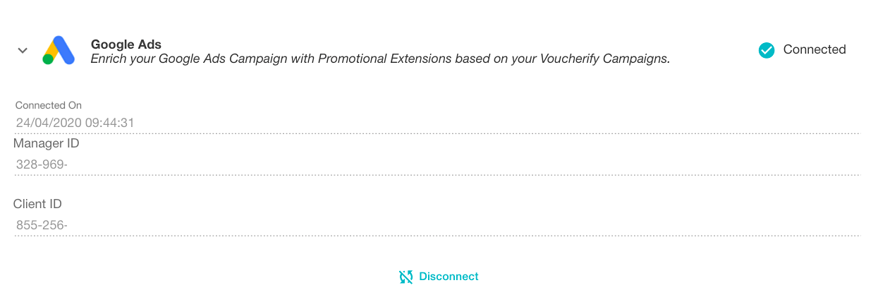 Connect Google Ads with Voucherify by visiting the Integrations Directory and providing your Google Ads credentials