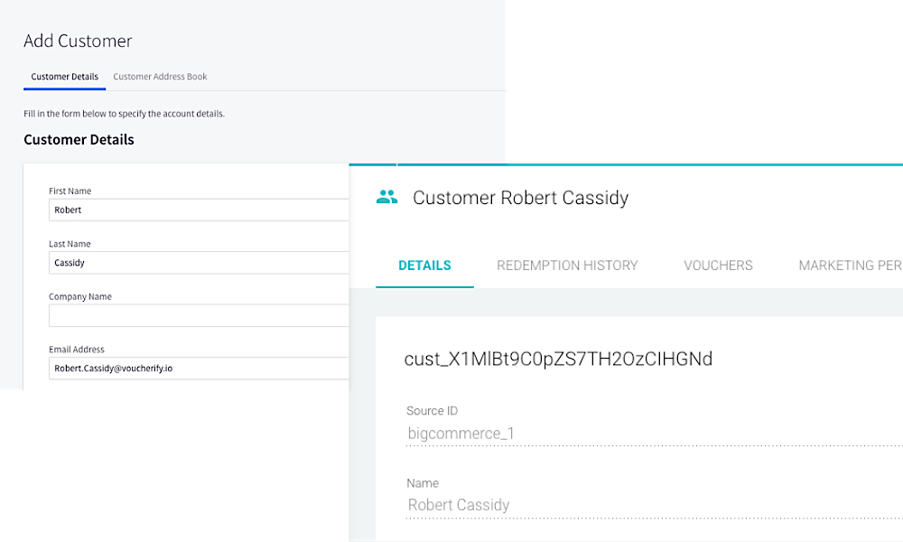 Every time a new customer, order, product or SKU appears in your BigCommerce account, it is automatically created in your Voucherify account