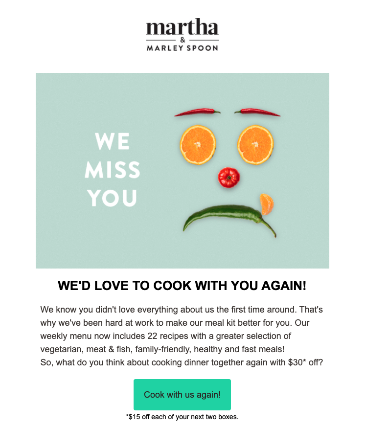 Martha and Marley Spoon re-engagement campaign email copy