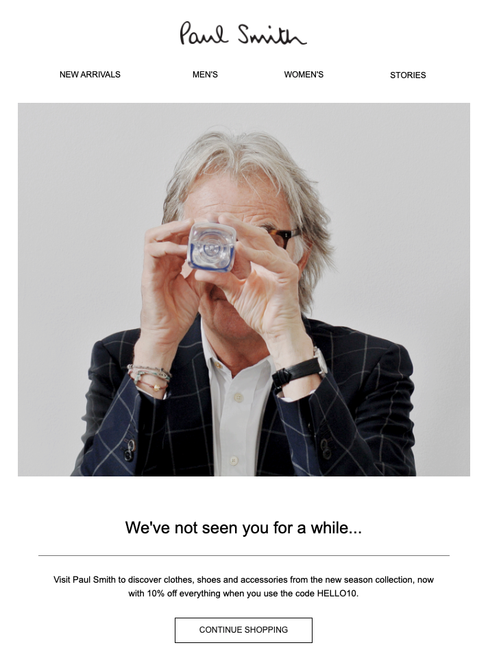 Paul Smith reenagement email copy