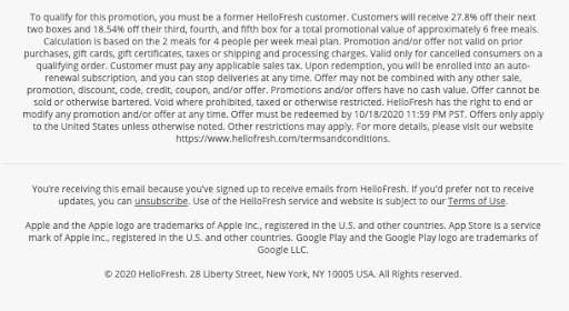 Hello Fresh promotion terms & conditions