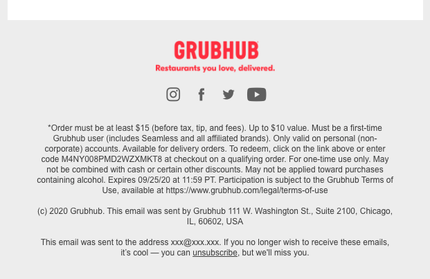 GrubHub Promotin terms and conditions