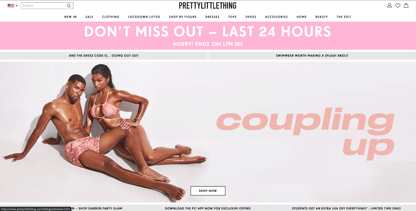 Pretty little thing timer main page