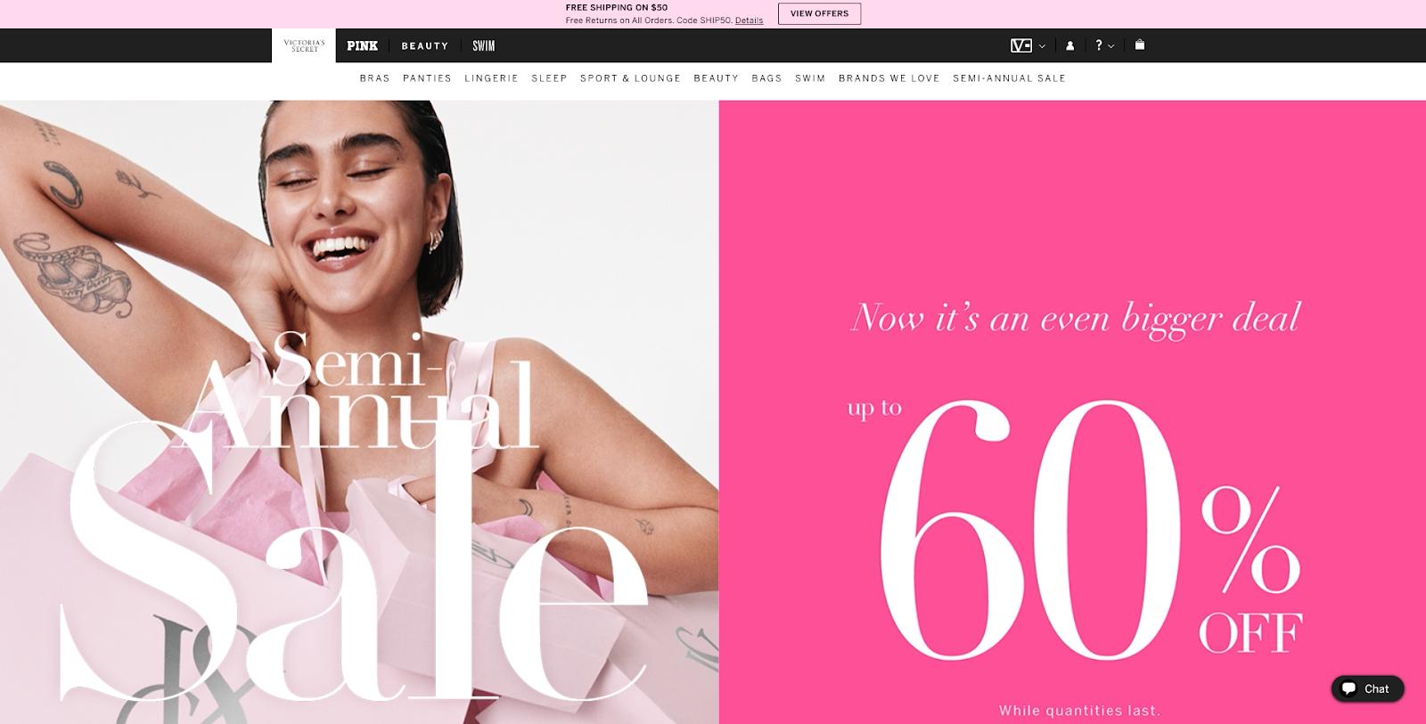 Victorias Secret sales page
