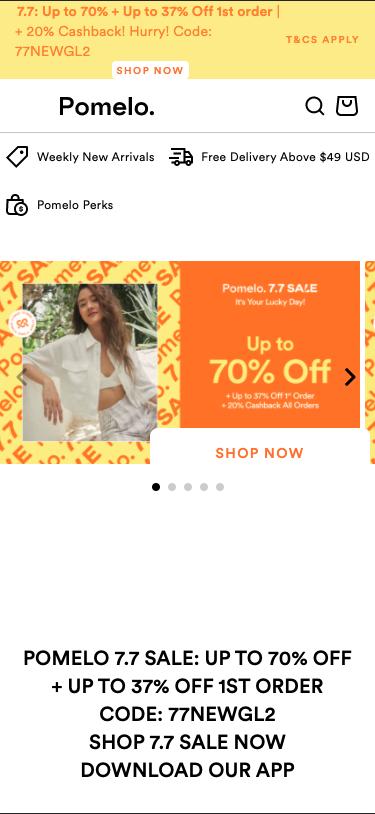 Pomelo web banner promotion on mobile