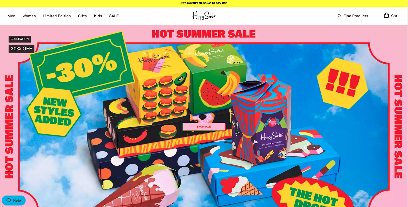 Happy Socks homepage promotion banner