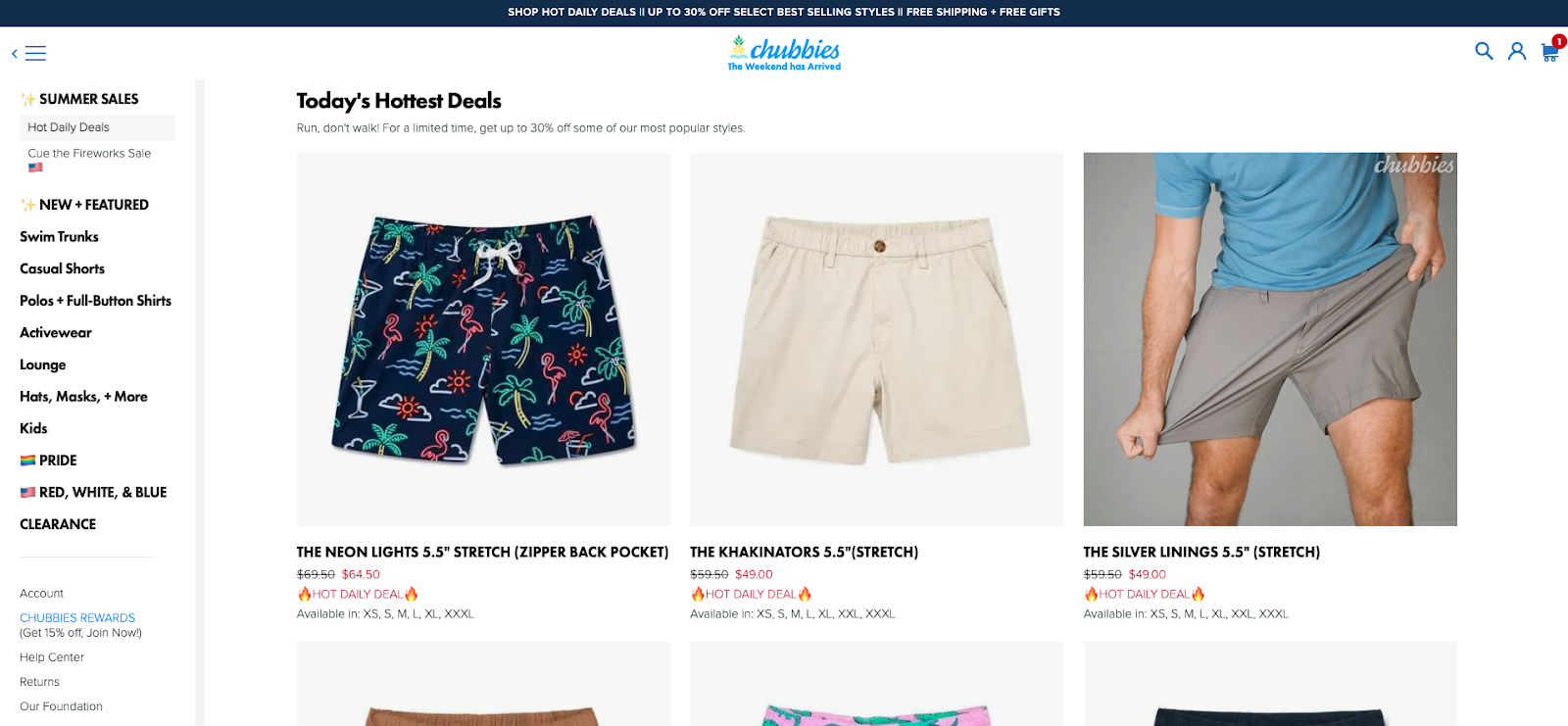 Chubbies sales page