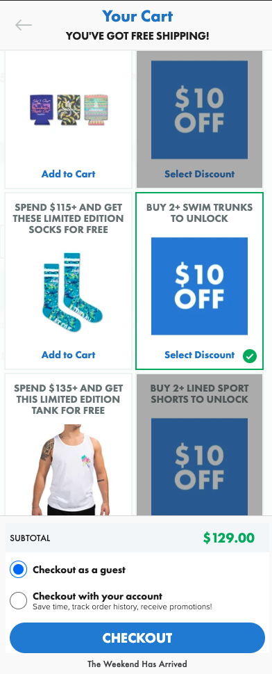Choosing discount in the shopping cart