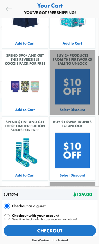 Chubbies discount in the shopping cart
