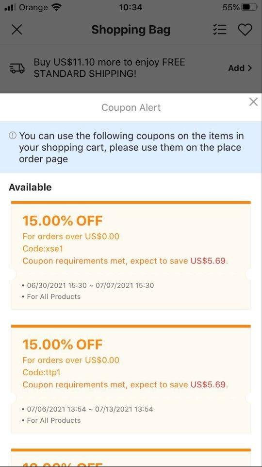 Shein coupon alert functionality
