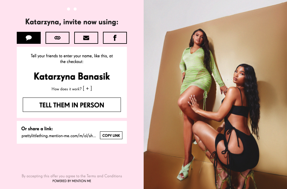 Pretty Little Thing referral link customization
