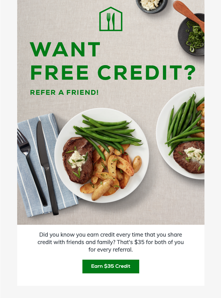 Homechef referral email copy