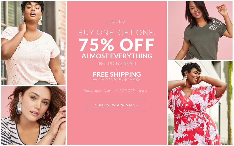 Lane Bryant example of a coupon code visual and message