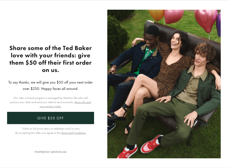 T&C inclusion on the referral page by Ted Baker