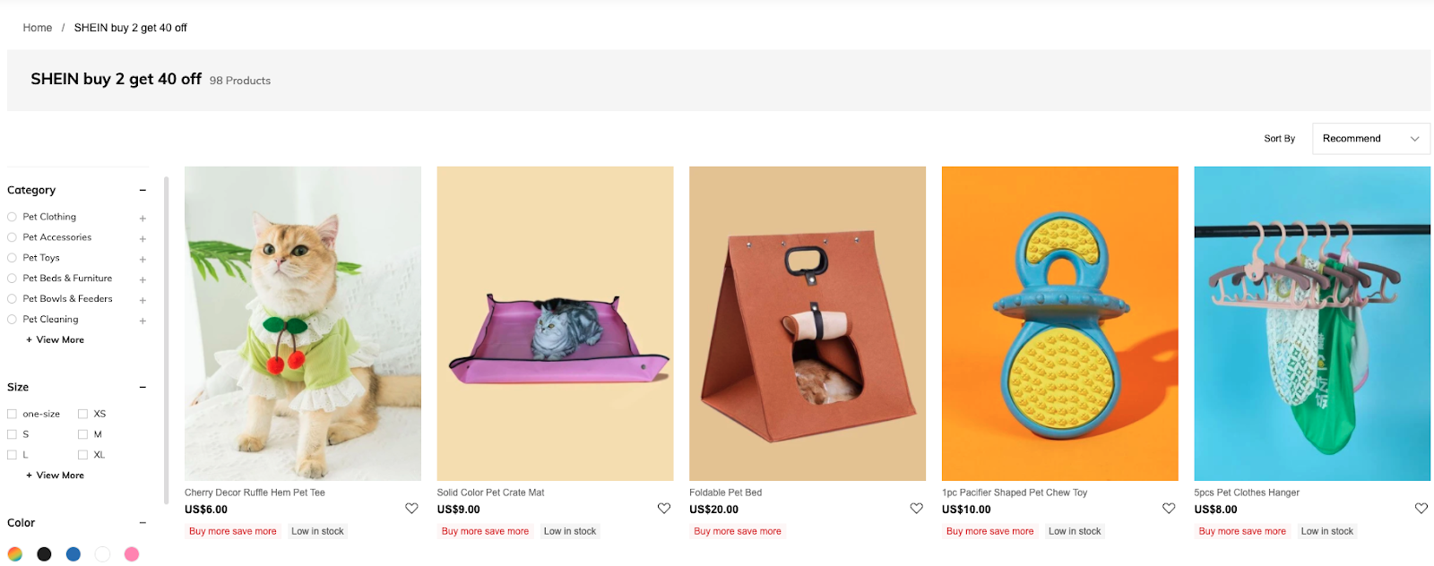 Percentage discount on multiple bundles by Shein