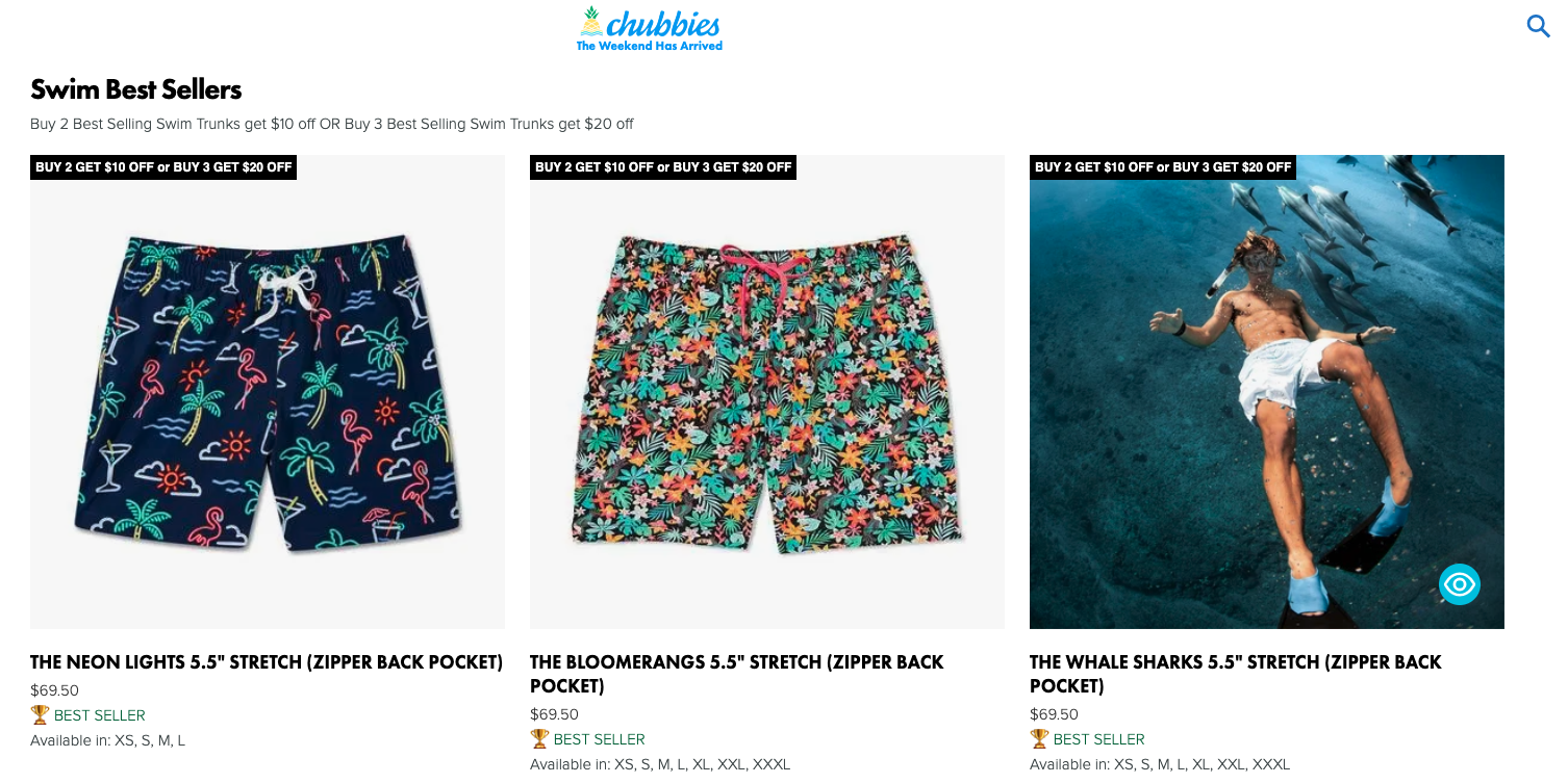 Dollar discount bundes offer by Chubies Shorts