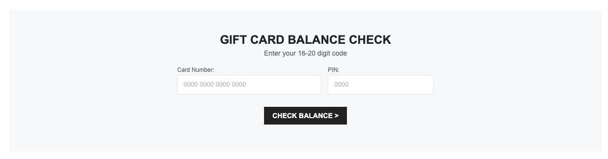 Shein section to check gift card balance