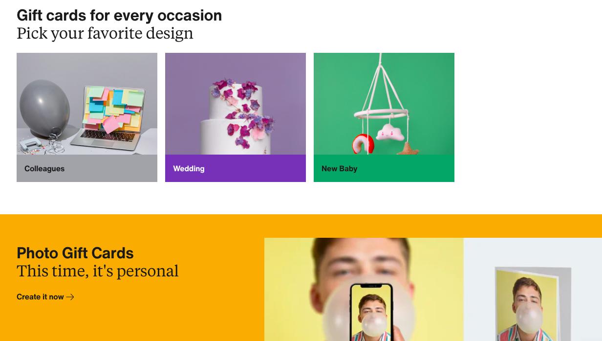 Zalando gift card customization options on their landing page