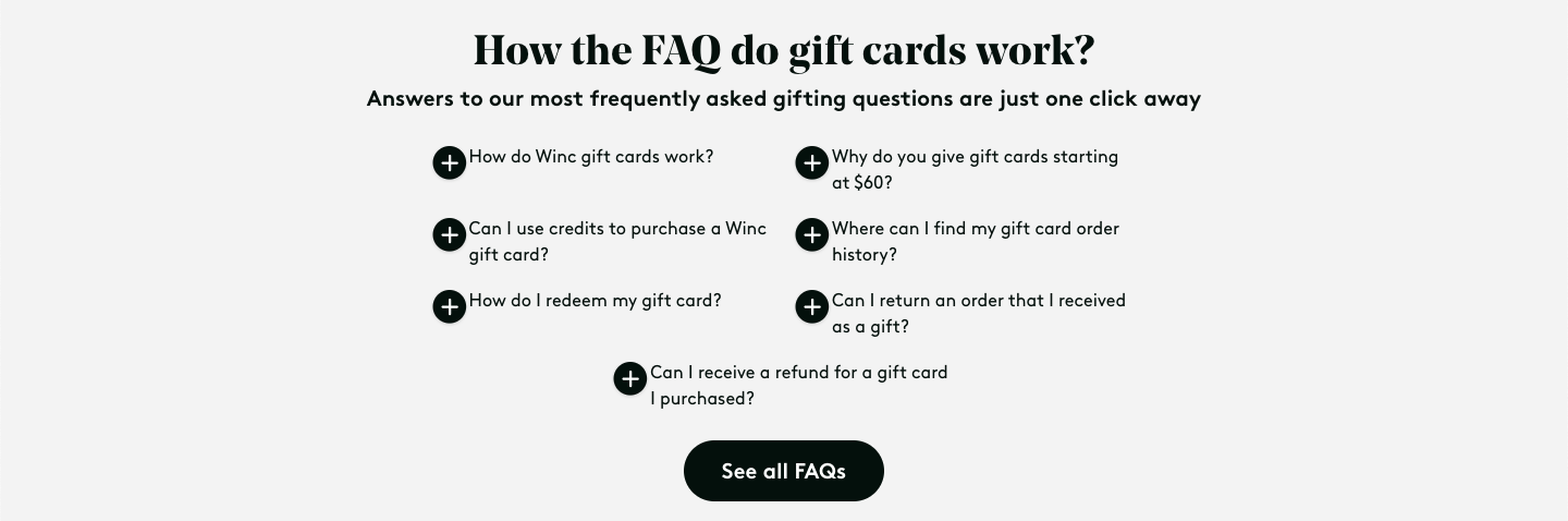 Winc FAQ section about gift cards
