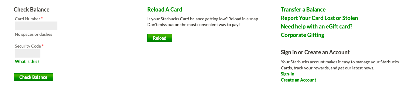 Starbucks landing page with multiple options for gift cards