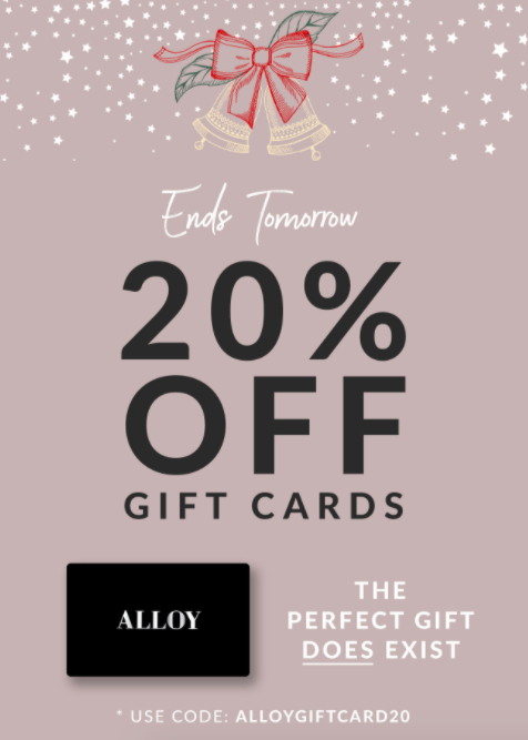 Alloy Apparel gift cards promotion fro Christmas