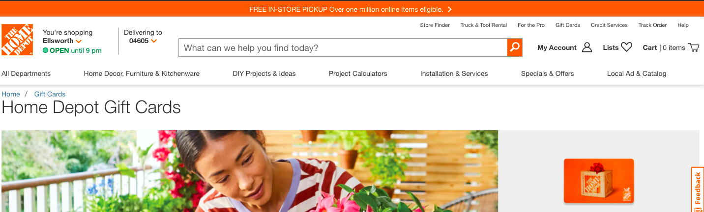 Home Depot promotion of card in the top banner