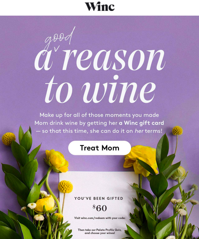 Winc email promotion of gift cards for Mother's Day