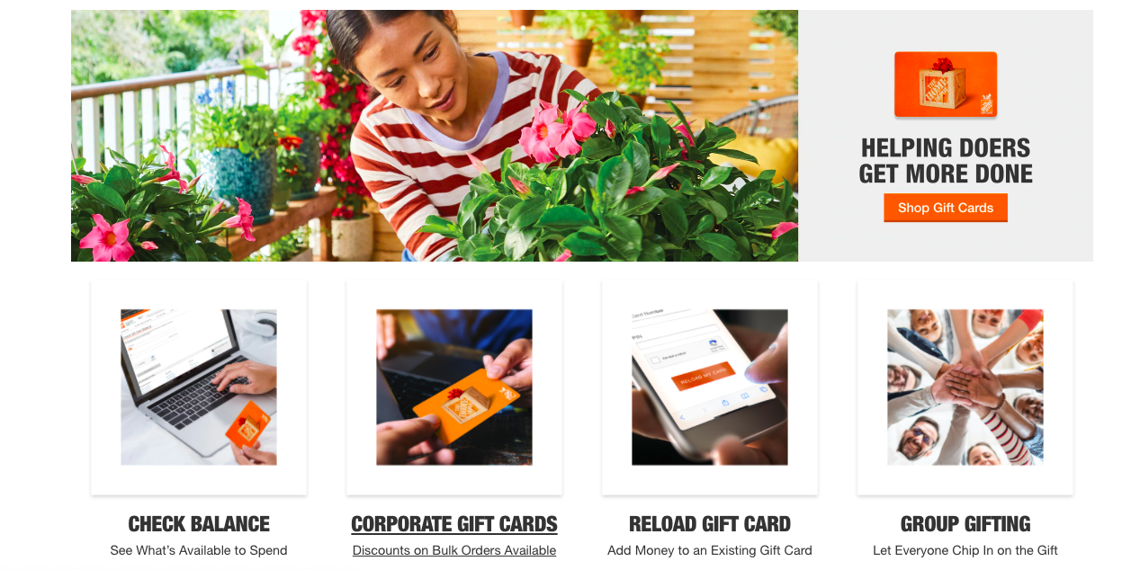 Home Depot gift card type selection