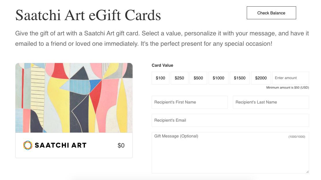 Saatchi Art choosing card value