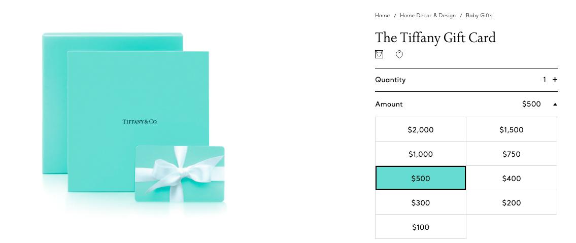 Tiffany Co. default gift card amount