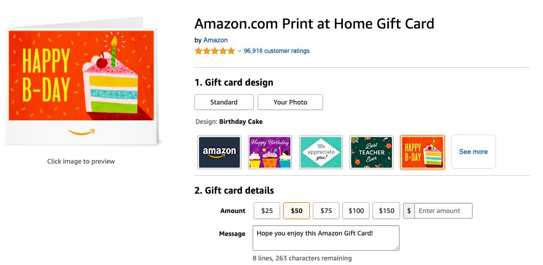 Amazon prewritten gift card message