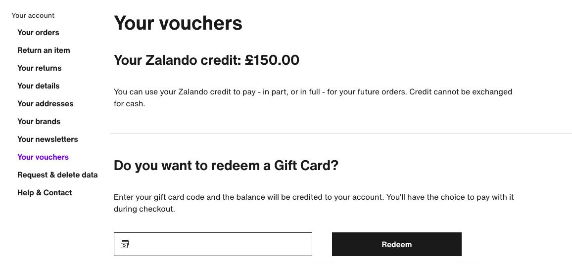 Zalando card redemption