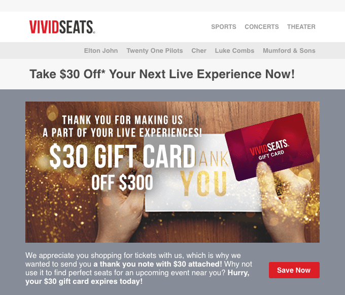 Vivid Seats Thank you campaign with gift vouchers
